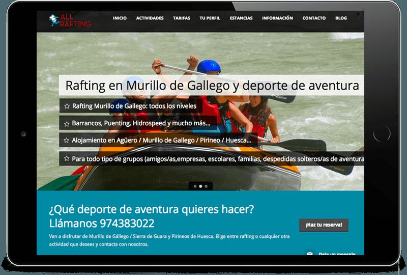 ipad-all-rafting Diseño Web Zaragoza
