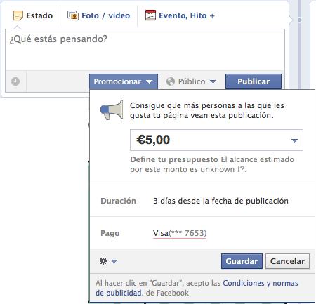Nueva funcionalidad de Facebook, Promote o Post Promocional